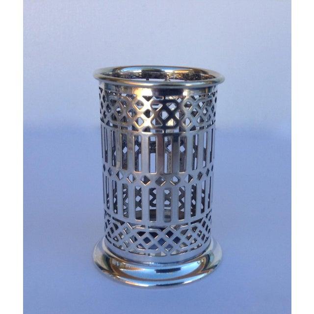 Metal Vintage Silver Plate Celtic Pierced Syphons - Set of 4 For Sale - Image 7 of 11
