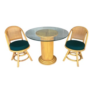 Distinctive Furniture Rattan-Bamboo 3 Piece Bistro Set For Sale