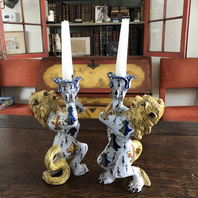 Pair of Antique French Victorian (1870-1900) Quimper Faience Ceramic Chamberstick Candleholders. Heraldic Lion motif that...