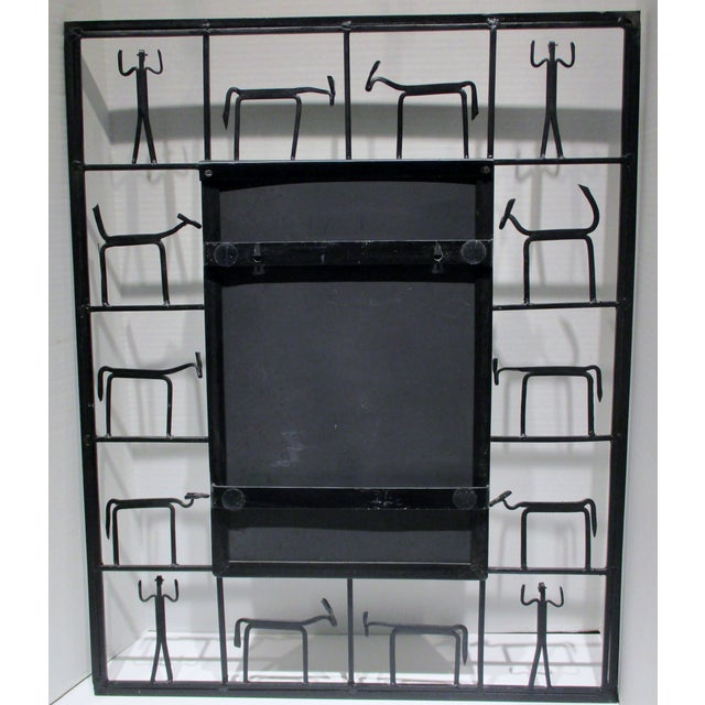Black Pair Mirrors 1950's Frederick Weinberg Mid-Century Modern Giacometti Style Wrought Iron For Sale - Image 8 of 9
