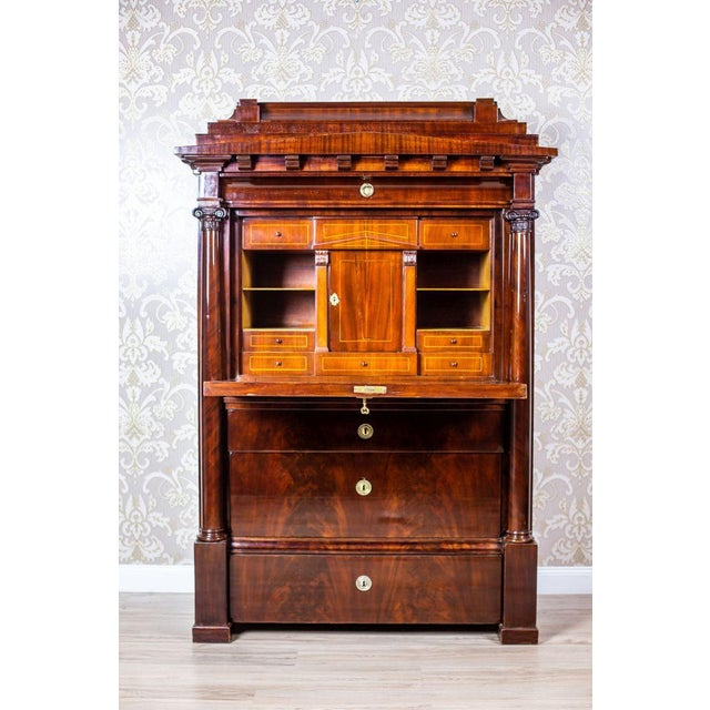 Biedermeier Secretary Desk Veneered with Mahogany, circa 1840 For Sale - Image 6 of 13