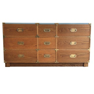 1960s Campaign Drexel 9-Drawer Dresser For Sale