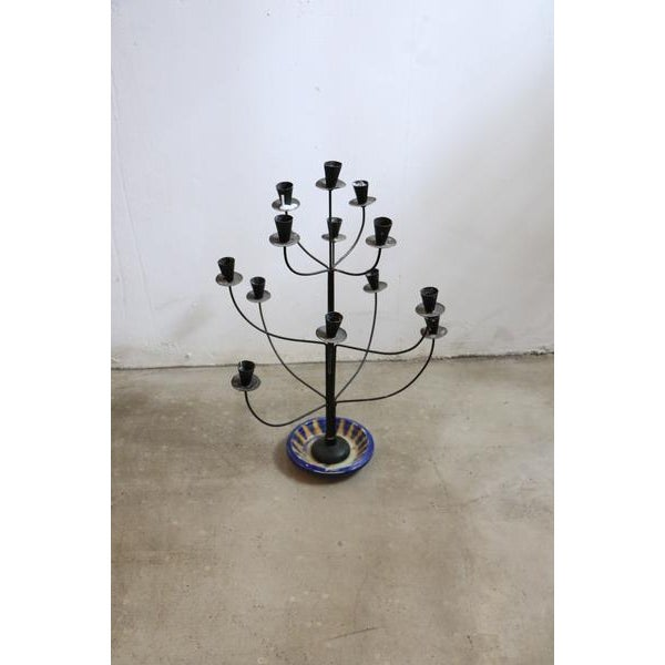 Antique Tree Style Candelabrum. Made from steel and ceramic base.
