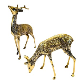 Vintage Mid-Century Brass Deer Figurines- a Pair For Sale