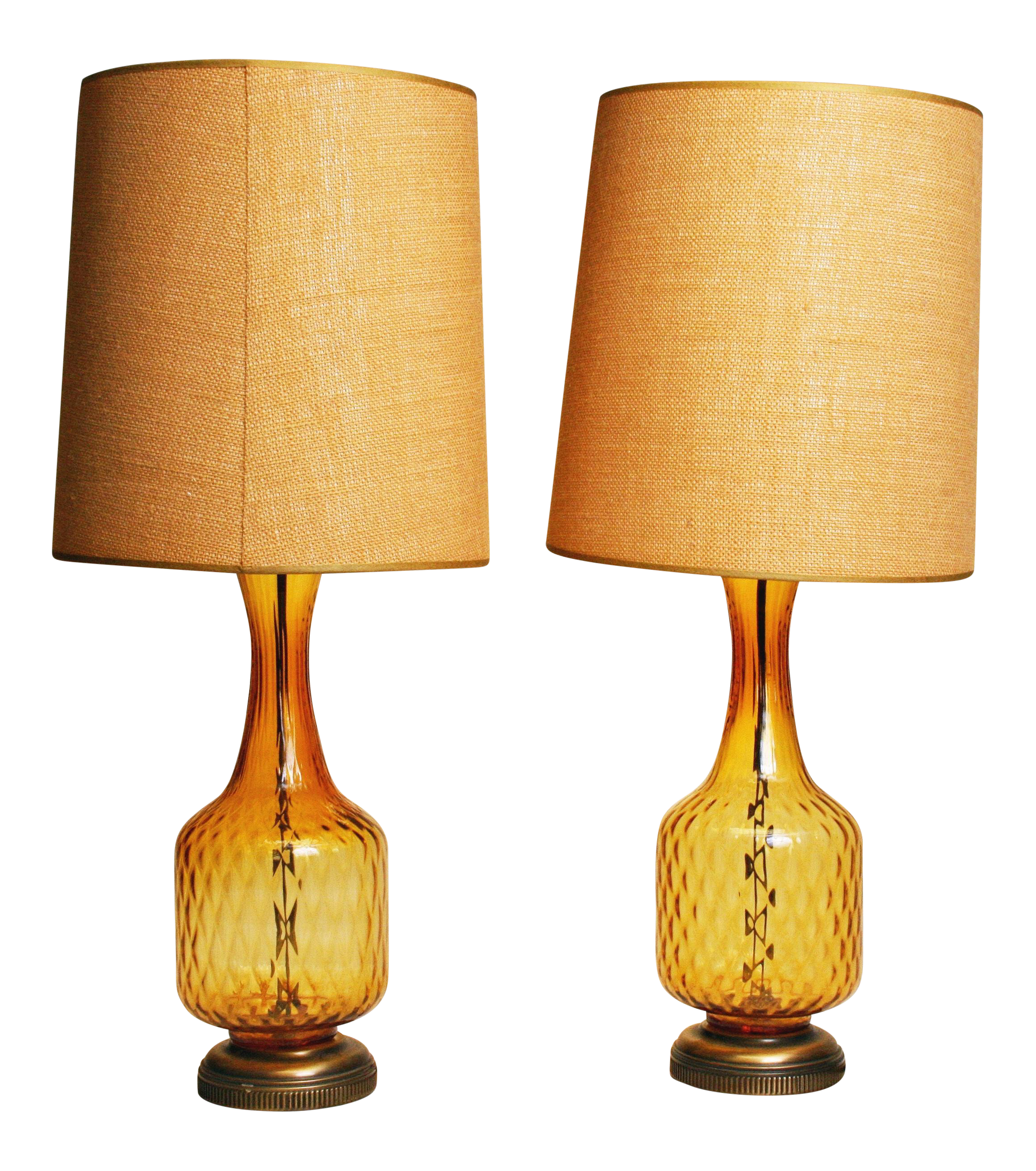 Mid Century Amber Glass Table Lamps   A Pair