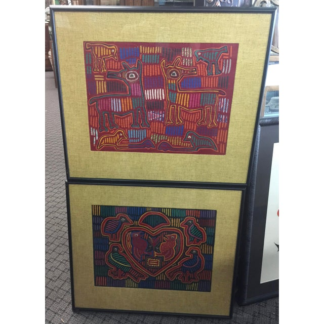 Fabric Panama Textile Art Ethnographic Mola a Pair Kuna For Sale - Image 7 of 7