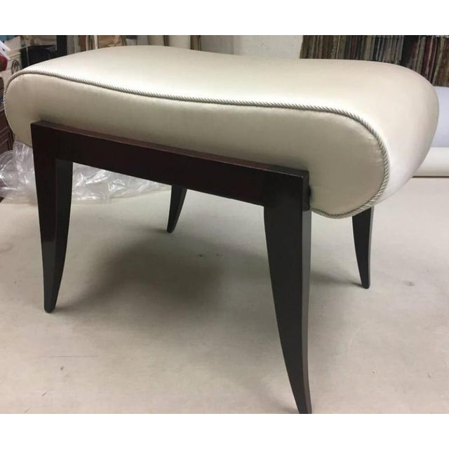 Maison Dominique Rarest Refined Art Deco Bench Newly Covered in Satin Silk.