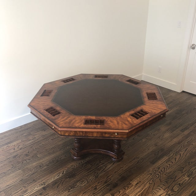 Neoclassical Sherrill Occasional Masterpiece Collection Poker/Game Table and 4 Game Chairs Set For Sale - Image 3 of 13