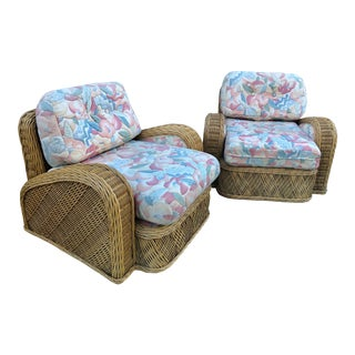 1980s Vintage Jay Spectre Steamer Rattan Chairs - a Pair For Sale