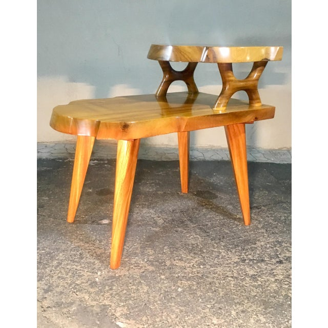 1960s Organic Modern Solid Slab Koa Wood 2-Tiered End Table For Sale - Image 9 of 12