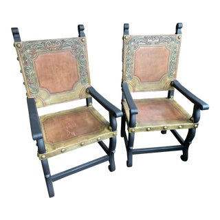 Late 18th Century Spanish Heritage Western Leather Arm Chairs – a Pair For Sale