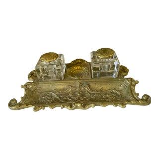 Antique Victorian Bronze Baroque Desk Set W Shell Design - 3 Piece Set For Sale