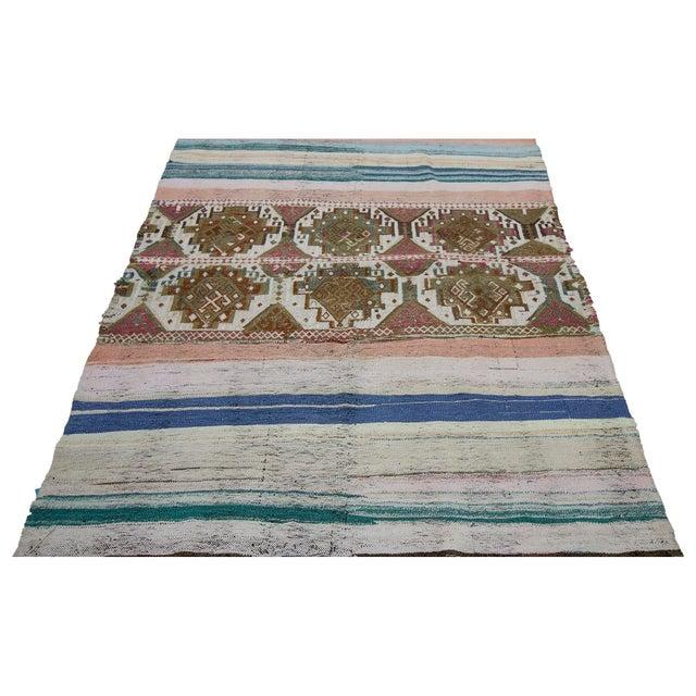 Handwoven Vintage modern small kilim rug from the Marash region of Turkey.