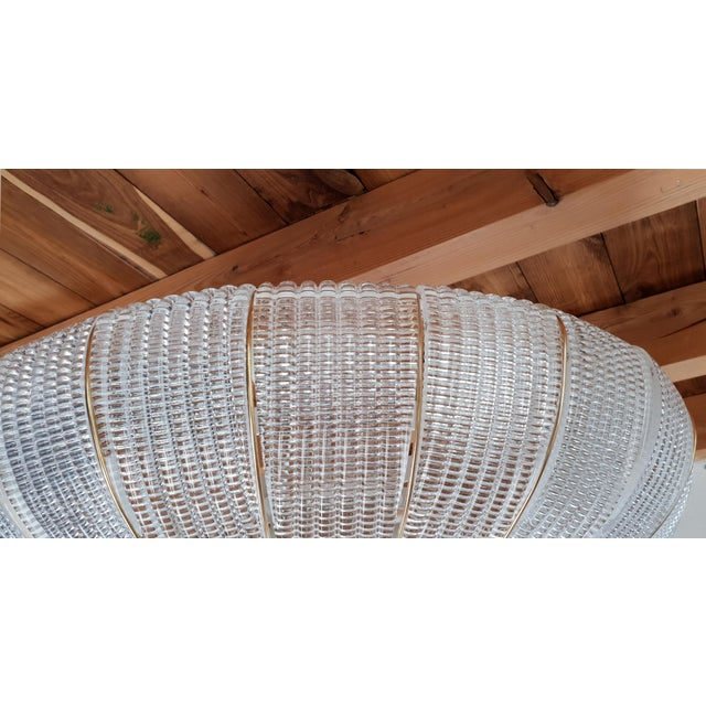Large Mid-Century Modern Round Clear Murano Glass Flush Mount For Sale In Boston - Image 6 of 12