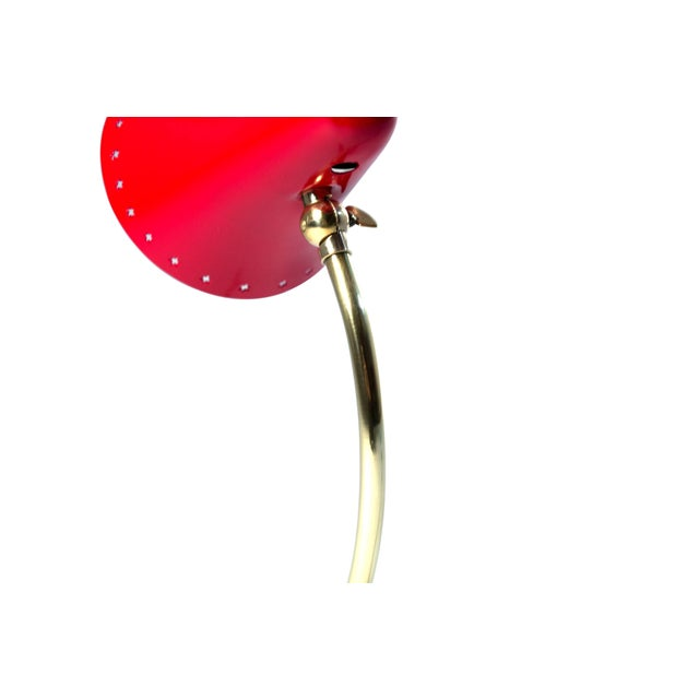 Mid-Century Modern 1950s Italy Petite Table Lamp With Red Enamel Shade For Sale - Image 3 of 8