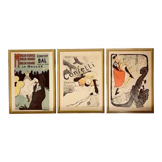 Vintage Warner Latrec Prints on Wood - Set of 3