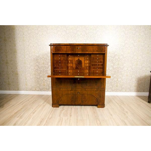 19th-Century Biedermeier Secretary Desk Veneered with Mahogany For Sale - Image 11 of 11