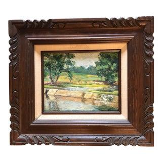 Original Vintage Impressionist Landscape Painting For Sale