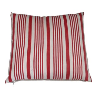 Vintage Red and White Stripe Ticking Pillow For Sale