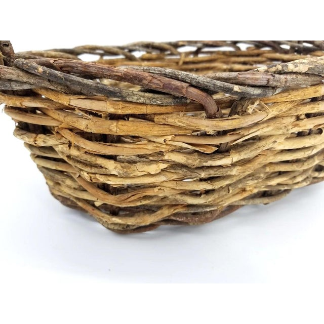 Brown Vintage Rustic Willow Woven Branch Twig Basket For Sale - Image 8 of 9