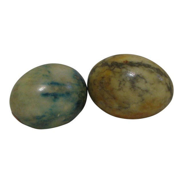 Blue/Green & Yellow Italian Decorative Marble Eggs - A Pair For Sale