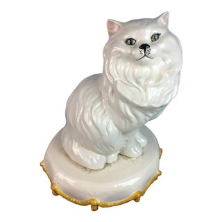 1970s White Cat on Pillow For Sale