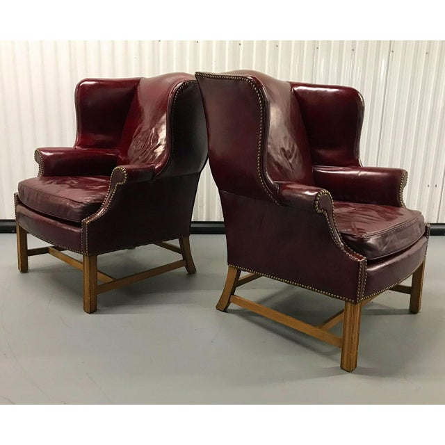 English Traditional Vintage Leather Wingback Chairs — a Pair For Sale - Image 3 of 13