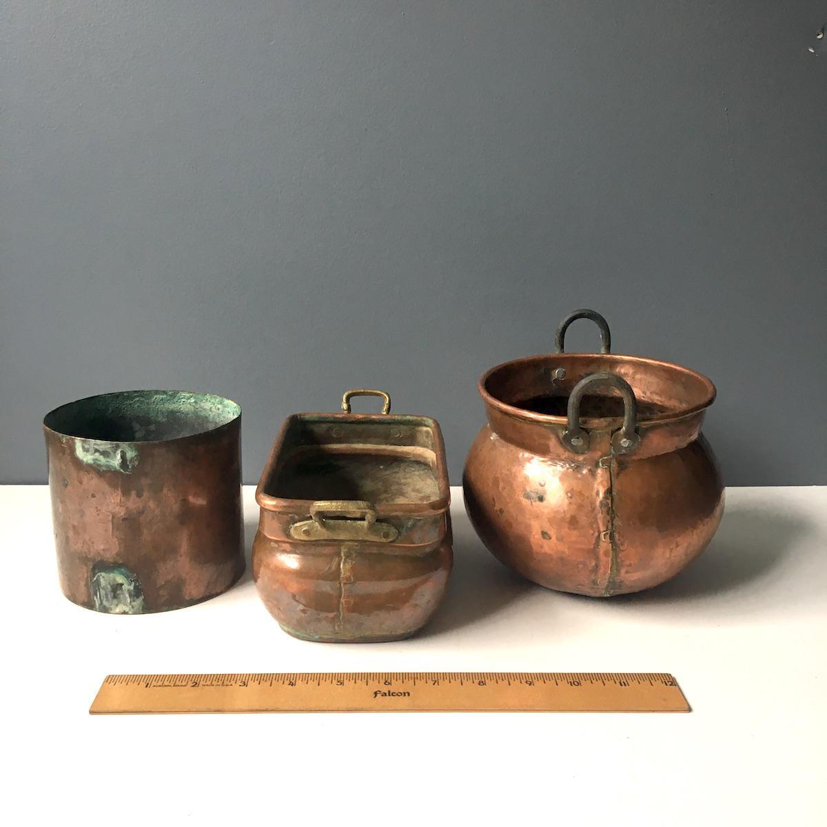 Copper Planters Rustic Decorative Plant Pots   Set Of 3 For Sale   Image 4  Of