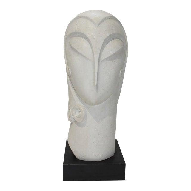 Vintage Art Deco Revival Fisher Sculpture Woman's Head Austin Productions Reproduction For Sale