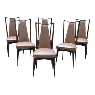 1940s French Art Deco Solid Mahogany Dining Chairs - Set of 6
