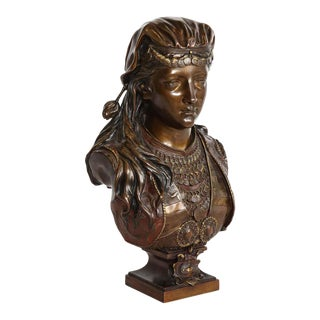 Exquisite French Multi-Patinated Orientalist Bronze Bust of Beauty, by Rimbez For Sale