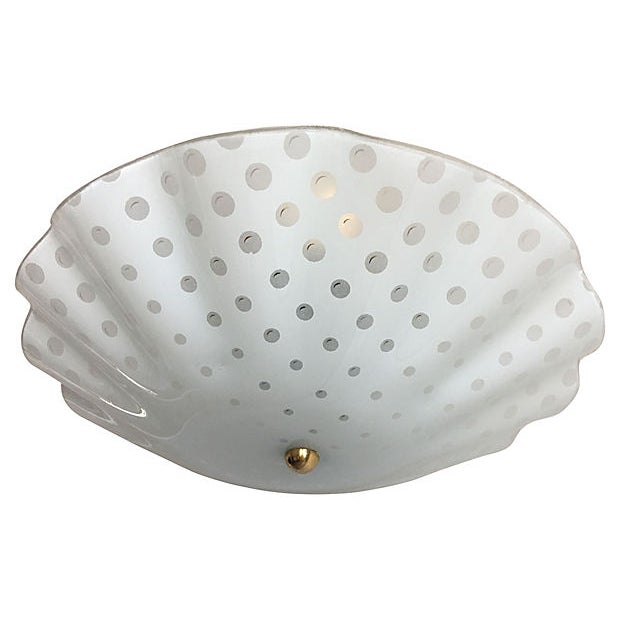 Ruffled Polka Dot Flush Light For Sale - Image 4 of 8