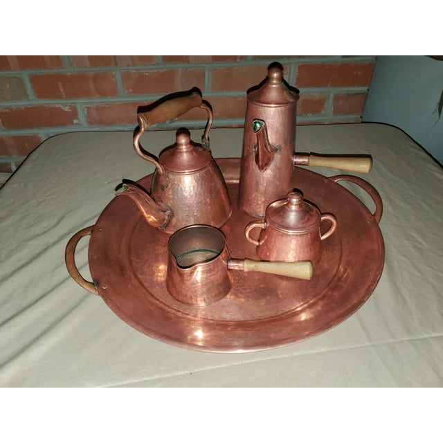 Vintage Rustic Mexican Hammered Copper and Brass Coffee Serving Set For Sale - Image 13 of 13