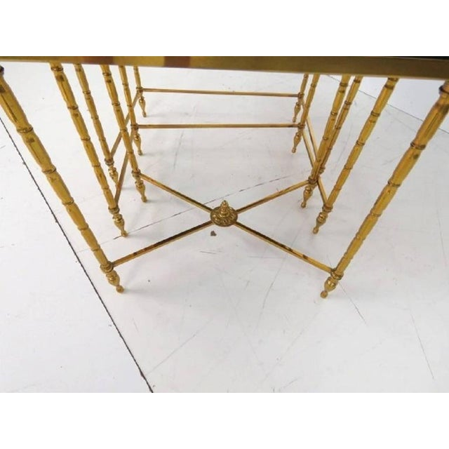 Mid 20th Century Custom Brass Bamboo Form Chinoiserie Nesting Tables For Sale - Image 5 of 6
