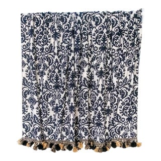 A Pair Custom Damask and Linen Black Tan Window Treatment Rod Pocket Drapes For Sale