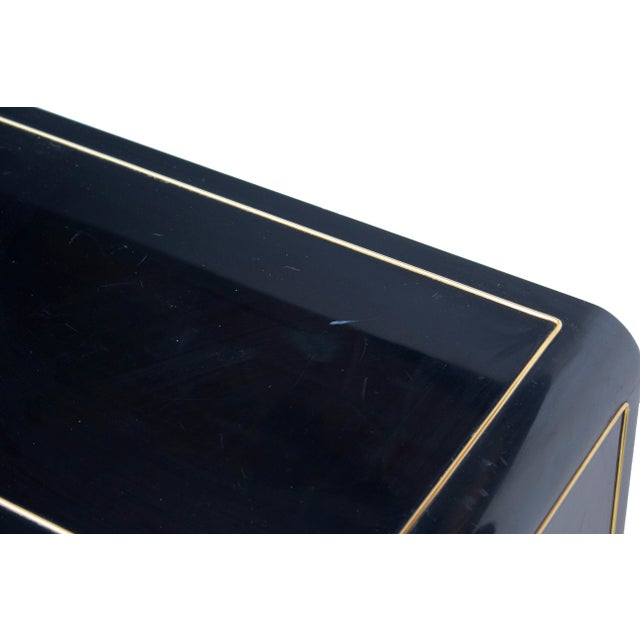 Mastercraft Console Cabinet in Black Lacquer and Brass For Sale - Image 6 of 13