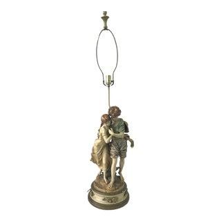 L & F Moreau Art Nouveau Figural Lamp Romantic Couple Early 20th Century For Sale