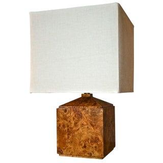 Italian 50's Wood Veneer Table Lamp For Sale