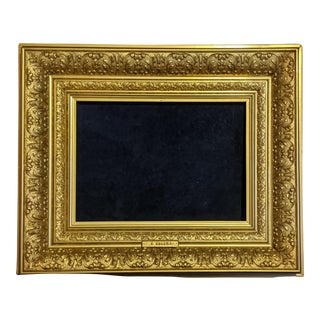 American Barbizon Gold Gilded Floral Picture Frame For Sale