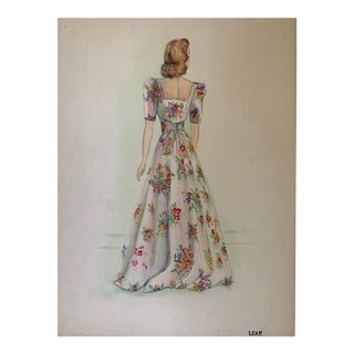 1960s Floral Dress Watercolor Painting For Sale