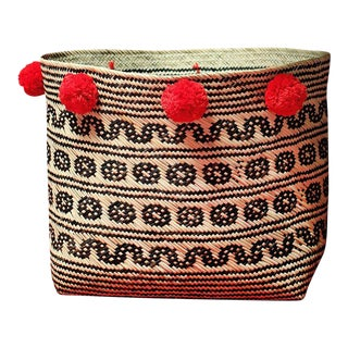 Borneo Tribal Straw Basket - with Handmade Lava Red Pom-poms