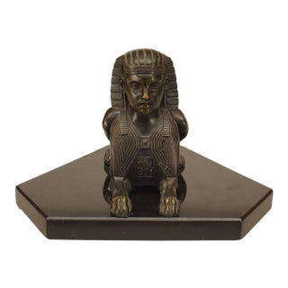19th Century French Egyptian Revival Marble-Mounted Bronze Sphinx For Sale