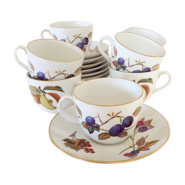 Royal Worcester Evesham Cup & Saucers - Set of 10 For Sale
