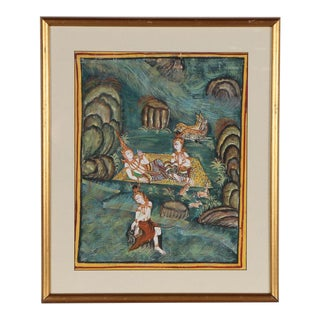 Vintage Thai Figures in Landscape Gouache Painting Framed For Sale
