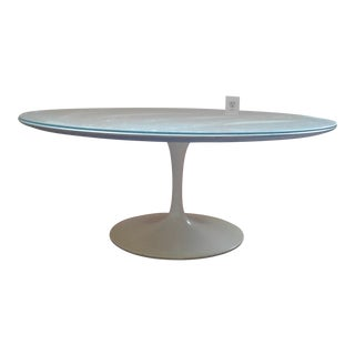 Early Saarinen Tulip Pedestal Round Walnut Coffee Table W/Glass