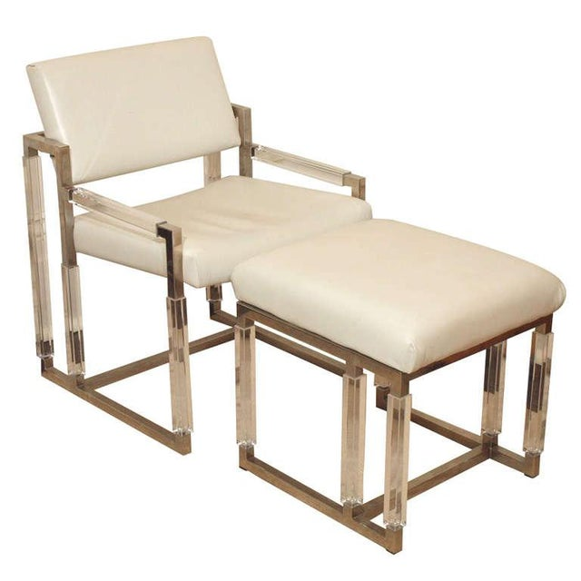 "Charles Hollis Jones ""Metric Line"" Chair & Ottoman - A Pair For Sale - Image 11 of 11"