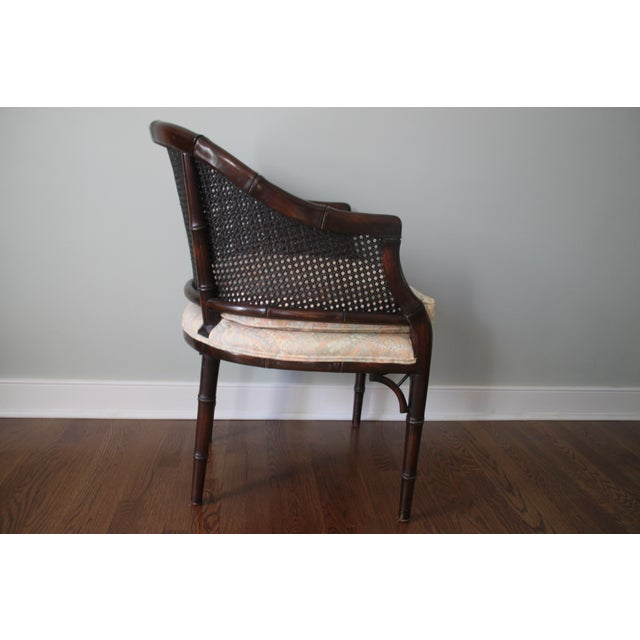 Faux Bamboo & Cane Barrel Back Chair For Sale - Image 7 of 10