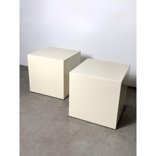 1970s Modern Lacquered White Cube Side Tables- A Pair Preview