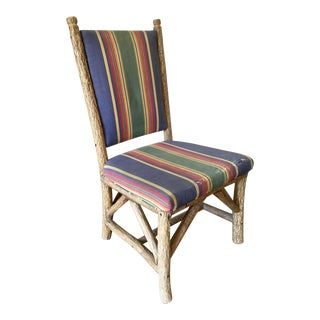 """Rustic """"Tree Branch"""" Style Carving Stripe Upholstered Side Chair For Sale"""