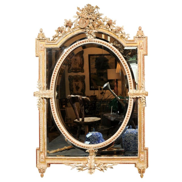 French Louis XVI Style 19th Century Pareclose Mirror with Liberal Arts Symbols For Sale - Image 13 of 13